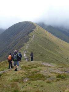 Staff development group leaving Causey Pike. wild things mountain adventures